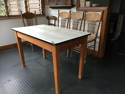 Rustic Enamel Work Table With Timber Frame