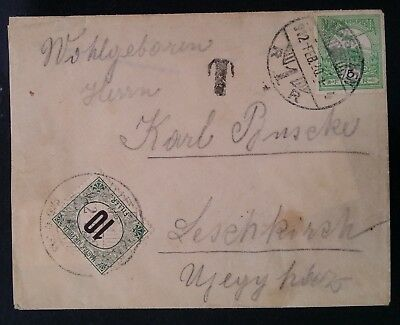 SCARCE 1912 Hungary Cover ties 2 stamps canc Nagyszeben Taxed