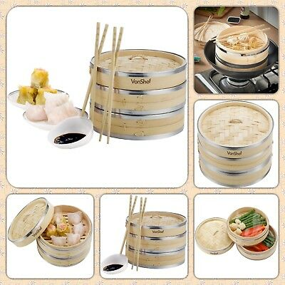 2 Tier Wooden Bamboo Steamer with 2 FREE Chopstick Pairs & 50 FREE Wax Papers
