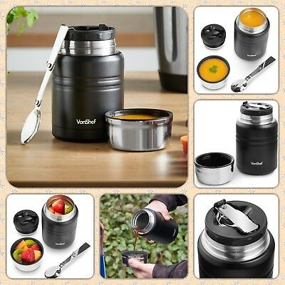 500ml Vacuum Thermos Food Flask Black Leak Proof for Hot & Cold Food Drink New