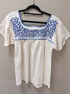 Vintage EMBROIDERED Hippie MEXICAN Peasant Top FESTIVAL Blouse M/L