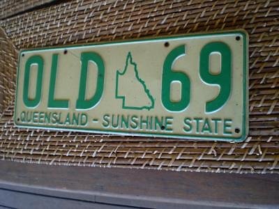 old .69 number plate Queensland -sunshine-state as found in a man cave Free post