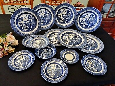 14 Churchill Willow Pattern Items Made in England