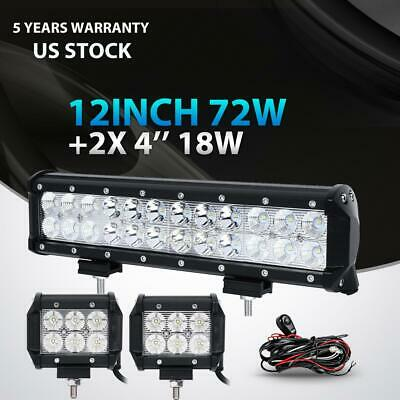 "12""inch 72W+4"" 18W LED Light Bar Work SPOT FLOOD 4WD CAR ATV SUV+ Wiring Kit 14"