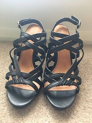 Country Road Elia black leather strappy high heels – size 41 (10), EUC