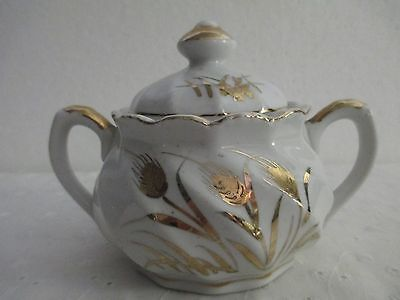 Vintage Lefton Sugar Bowl with Lid/Gold Wheat Design/Hand Painted-Japan