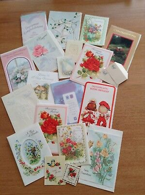 Set Of 20 Vintage Gift Cards - Unused Engagement Wedding Anniversary Thank You.