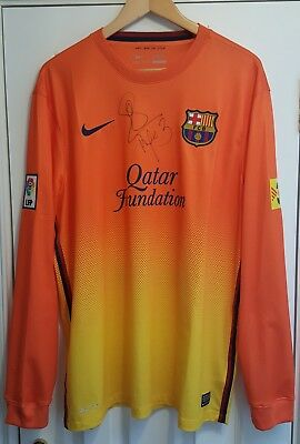 Signed Barcelona shirt jersey not player issue match worn spain messi boots ball