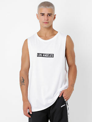 New Majestic Mens Heiler Muscle T Shirt In White Black Singlets & Muscle Tees