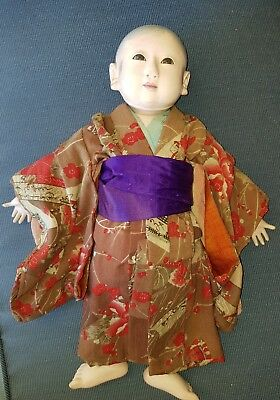 "Antique Japanese Ichimatsu Meiji era rarer jointed and sexed boy 16"" doll"