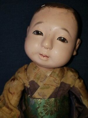"Antique Japanese Ichimatsu gofun boy 12"" doll"