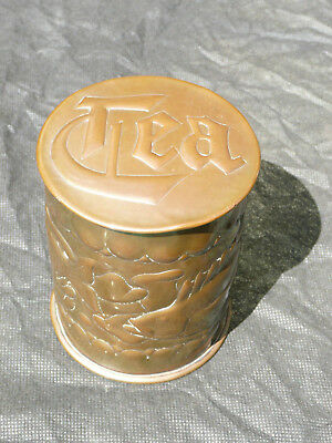 Newlyn Arts and Crafts copper tea caddy with repoussé fish and bubbles