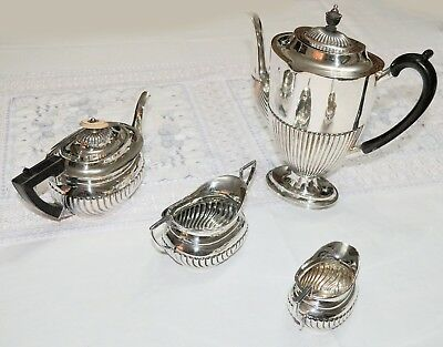 Four Piece Sterling Silver Tea and Coffee Set, Mappin & Web 1897 + Turner 1903 !