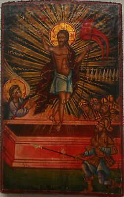 Very rare antique Greek icon of Resurrection of Jesus Christ