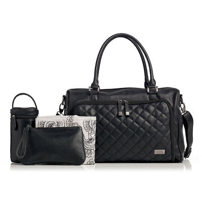 NEW Isoki Double Zip Satchel Nappy Bag - Quilted Black