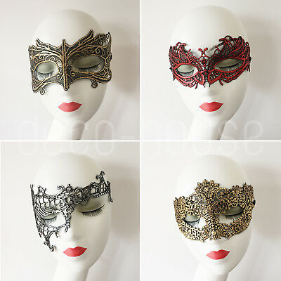 Ridged Metallic Sexy Gold Rainbow Lace Face Mask Masquerade Ball Costume Party