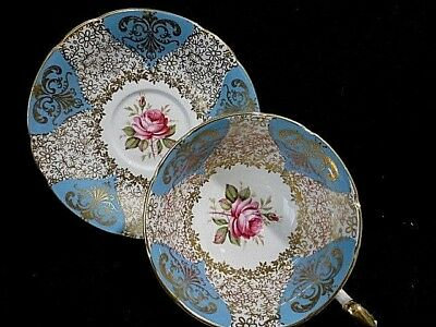 Antique  Paragon Blue with Gold & Red Rose Tea Cup & Saucer