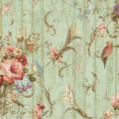 Parrot Floral Bouquets Wallpaper HA1326 bird victorian green rose blue prepasted