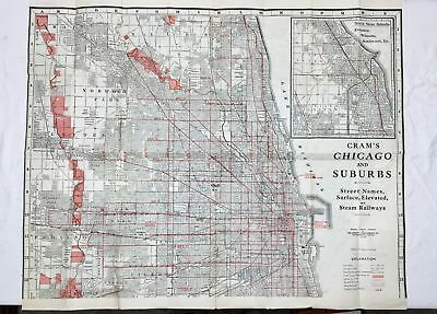 Original Vintage Cram's Chicago and Suburbs: Street Names, Surface, Elevated Map