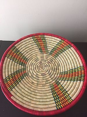Handcrafted Colorful  Ethiopian Straw Bowl