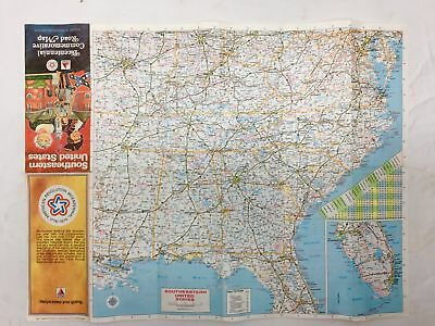 """Vintage 1976 CITGO Bicentennial Map of the Southeastern United States 23"""" x 17"""""""