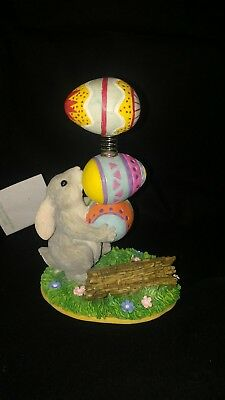 Charming Tails Binky's Bouncing Bundle Figurine Gray Bunny Rabbit Easter Eggs
