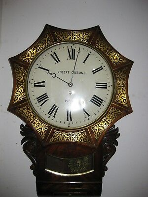 19 th C. English drop dial Brass inlay Fussee movement