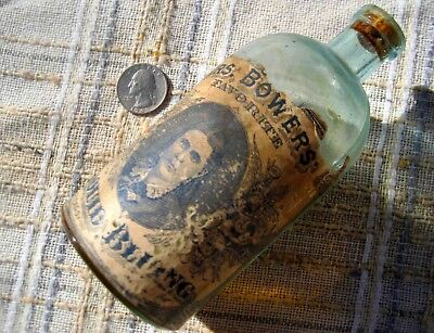 "Early embossed bottle w/label ""MRS. BOWERS FAVORITE LIQUID BLUING"" late 1800's"