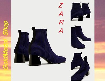 be09b79f7d7 ZARA CONTRASTING SOCK-STYLE High Heel Ankle Boots US EUR 6.5 37  7.5 ...