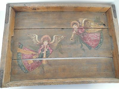 Antique wooden tray with hand painted decoration
