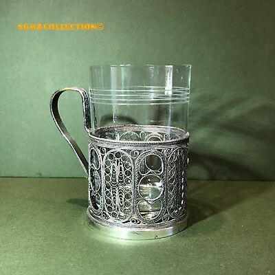 Soviet Era Silver Plated Filigree Tea Glass Cup Holder/ Special Glass Included