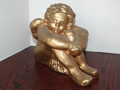 "Gold Angel Sitting Plastic Cherub Statue with wings 8"" tall 10"" long weigh 2 lbs"
