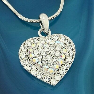 "Heart Love Pendant Made With Swarovski Crystal Clear AB Gift 18"" Chain Necklace"