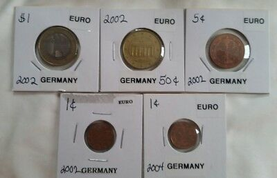 (5) Assorted German Euro Coins & (18) Assorted  German Stamps.  All Are German.