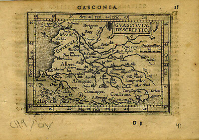 1609 Genuine Antique miniature map of SW France. Bayonne. Bordeaux. A. Ortelius
