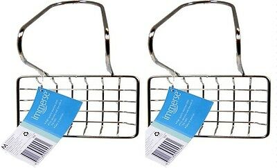 Soap Holder Stainless Steel Hanger Dish Caddy Tray Immerse Bath Laundry 2Pcs New