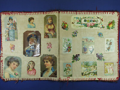 Antique Victorian Scrap Album Scrapbook ~ Linen Pages ~ 1885