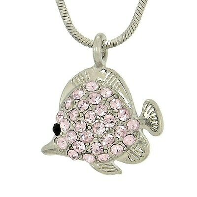 "Fish Made With Swarovski Crystal Pink Aquarium Ocean Pendant Necklace 18"" Chain"