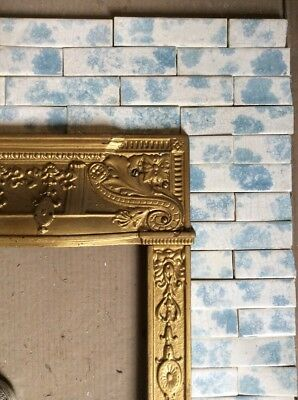 Complete Set Vintage Victorian Antique Fireplace Tile Tiles Mantle Hearth Sky