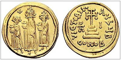 Heracl.Const.&Heraclonas, Au Solidus, 636/37 (year 10), Constant.,office.B  Sear