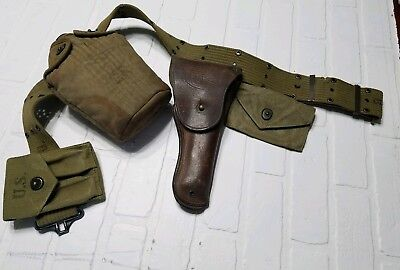 WW2 US ARMY 1911 Brown Holster Khaki Belt Ammo & First Aid Pouch, Canteen