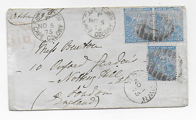 CAPE OF GOOD HOPE 1875: 4d blue x 3 on cover from HOPETOWN (Diamond Find Town)