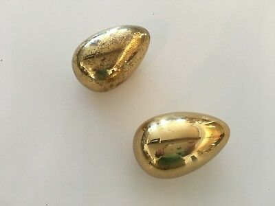 VINTAGE SOLID BRASS EGG PAPERWEIGHT MID CENTURY lot of 2