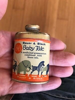 SAMPLE?? Bauer & Black Baby Talcum Talc Tin Can Circus Animals CLEAN 2-1/4""