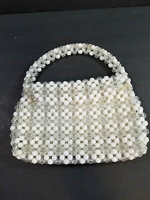 Vintage Clutch Purse Clear and White Faceted Beads Hand Made in Hong Kong Zipper
