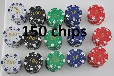 150 Poker Chips - 11.5G Heavy Numbered Poker Chips in 5 colours - see details