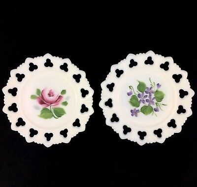 Vintage Milk Glass Shell Club Plate Hand painted lot of two 7 inches