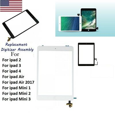 Touch Screen Glass Digitizer Assembly Replacement for iPad 2 3 4 Air 5 Mini 2 3