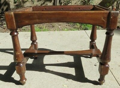 Antique Wooden Footstool Vanity Bench Stool Colonial or Spanish Needs Upholstery