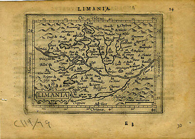1609 Genuine Antique miniature map of France. Clermont-Ferrand. by A. Ortelius